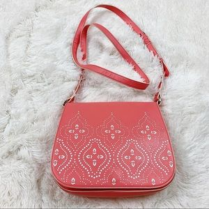 Vera Bradley Coral Laser Cut Saddle Crossbody